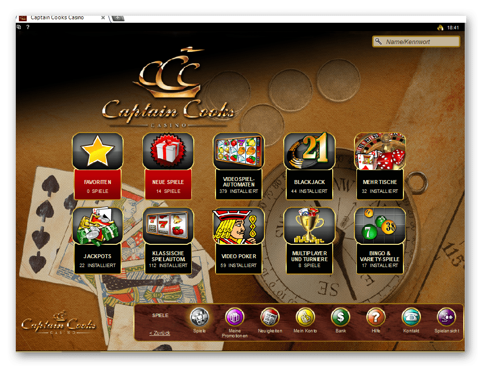 Captain Cooks Casino Game Lobby Screenshot