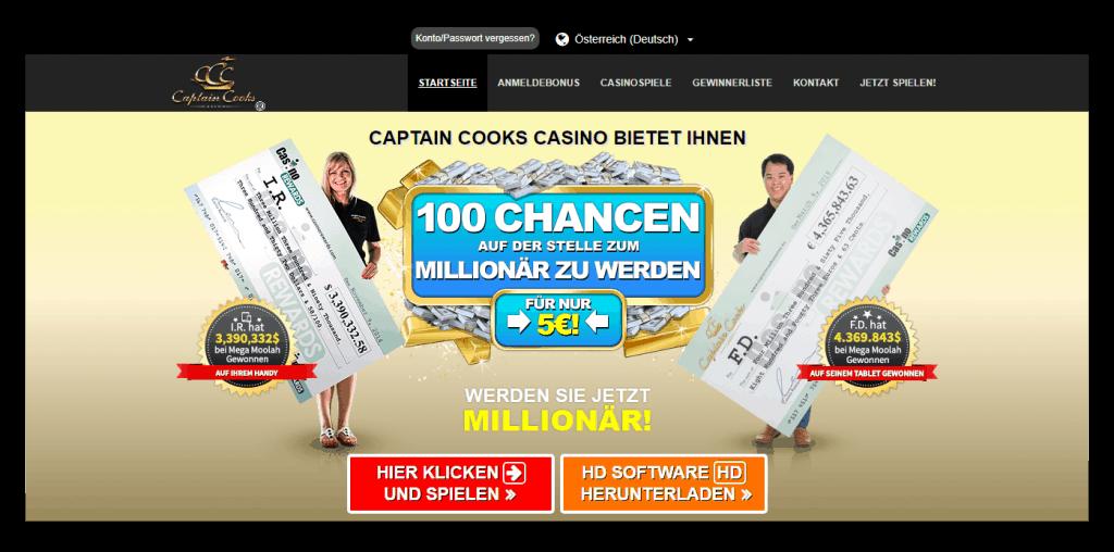 Captain Cooks Casino Homepage Screenshot