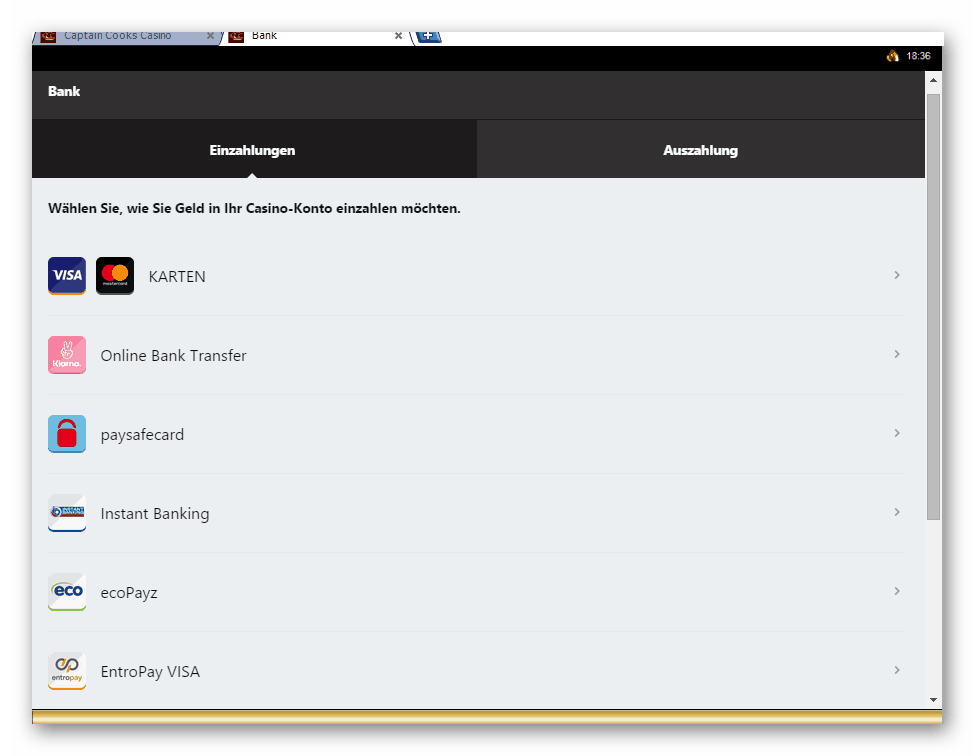 Captain Cooks Casino Kassierer Screenshot