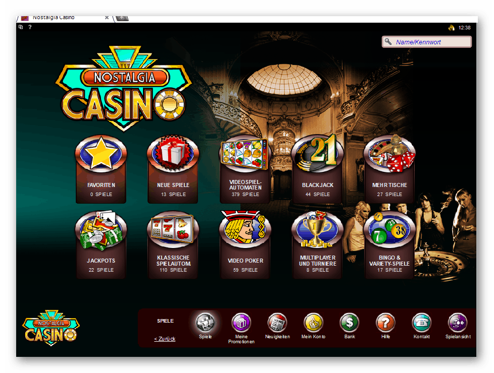 Nostalgia Casino Game Lobby Screenshot