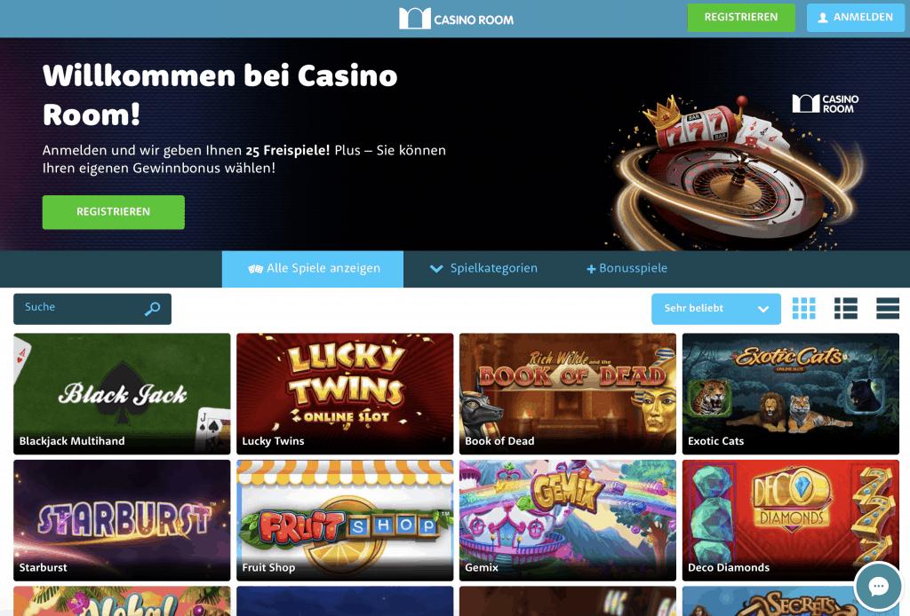 Casino Room Homepage Screenshot