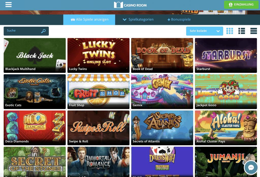 Casino Room Game Lobby Screenshot