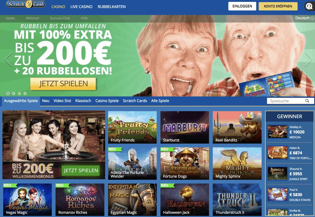 Scratch2Cash Casino Homepage Screenshot