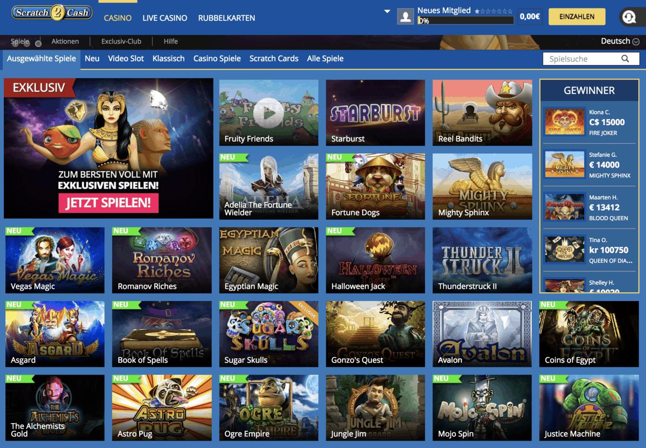 Scratch2Cash Casino Game Lobby Screenshot