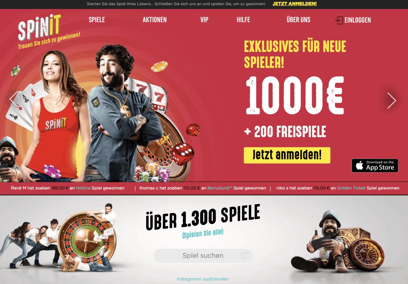 Spinit Casino Homepage Screenshot