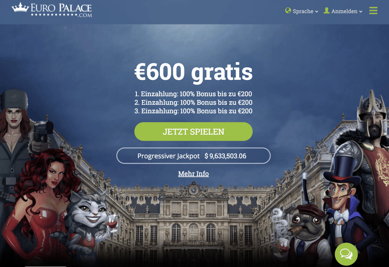 Euro Palace Casino Homepage Screenshot