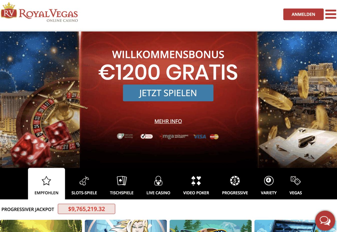Royal Vegas Casino Homepage Screenshot