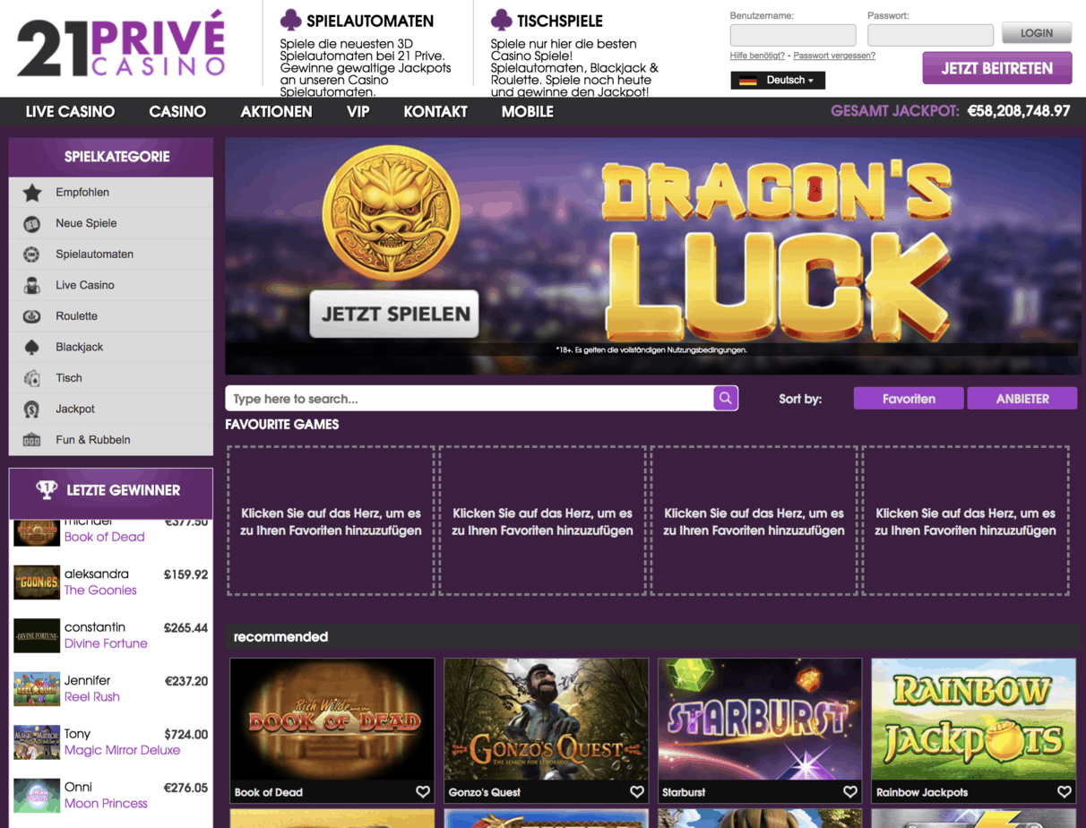 21 Prive Casino Homepage Screenshot