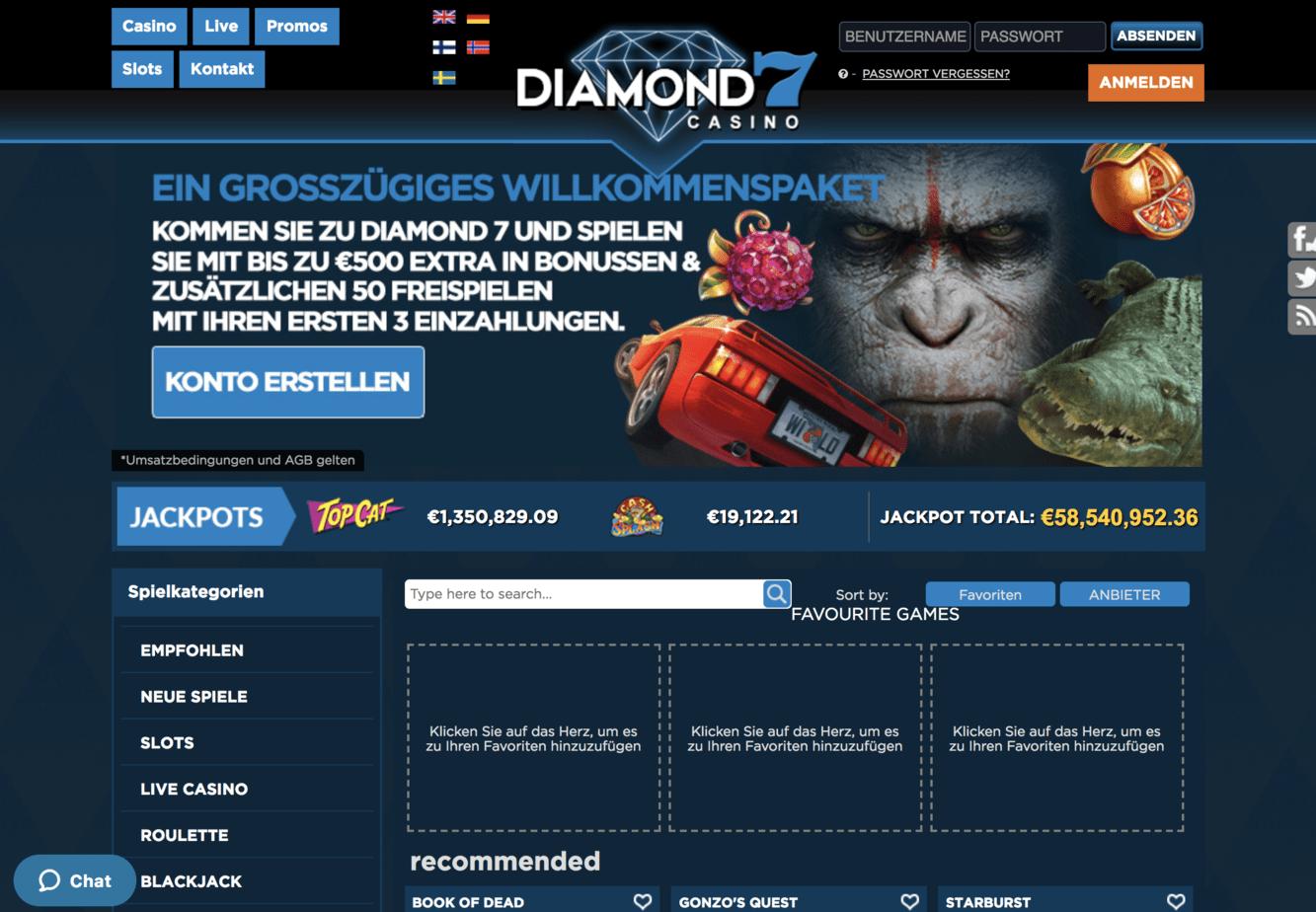 Diamond 7 Casino Homepage Screenshot