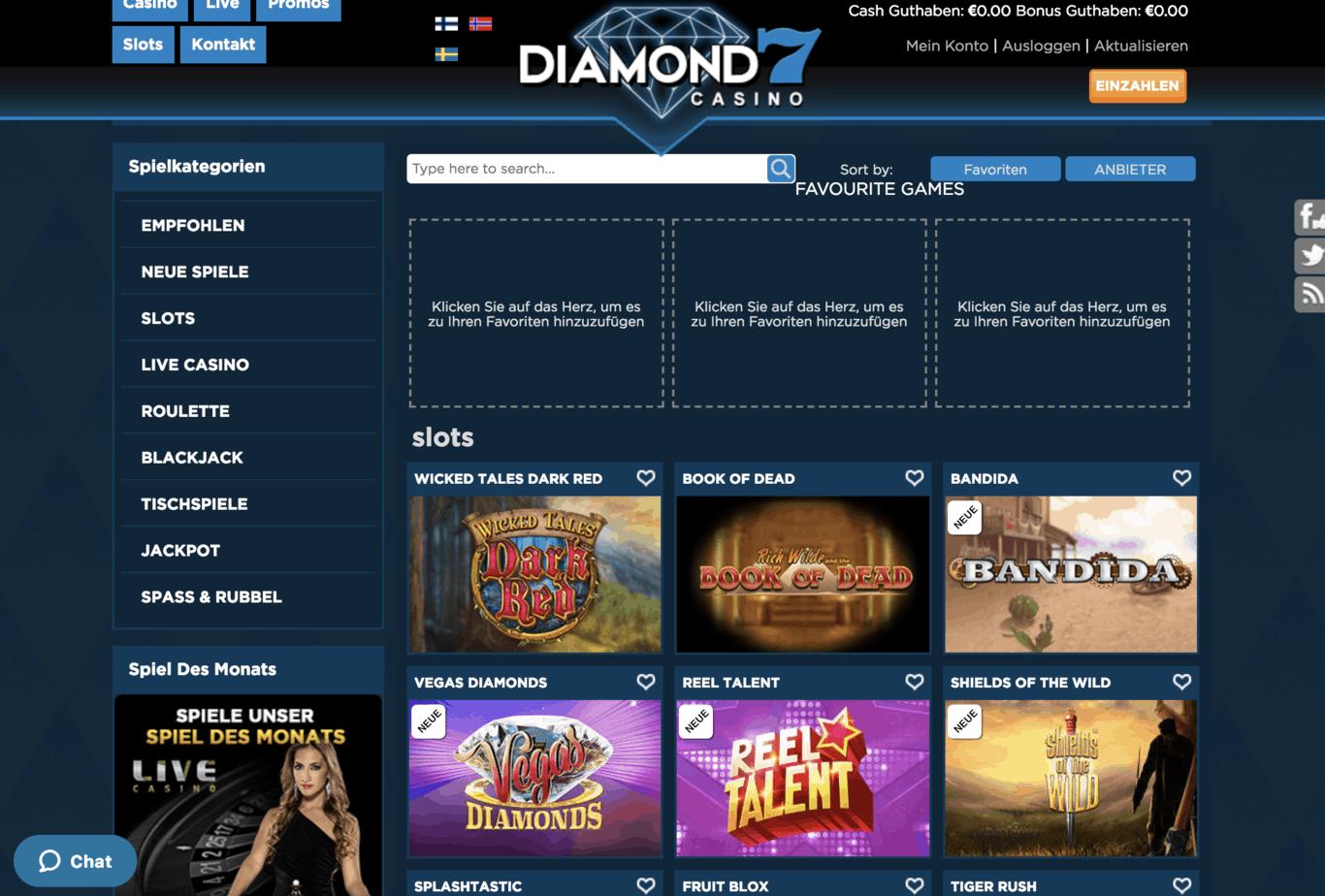 Diamond 7 Casino Game Lobby Screenshot