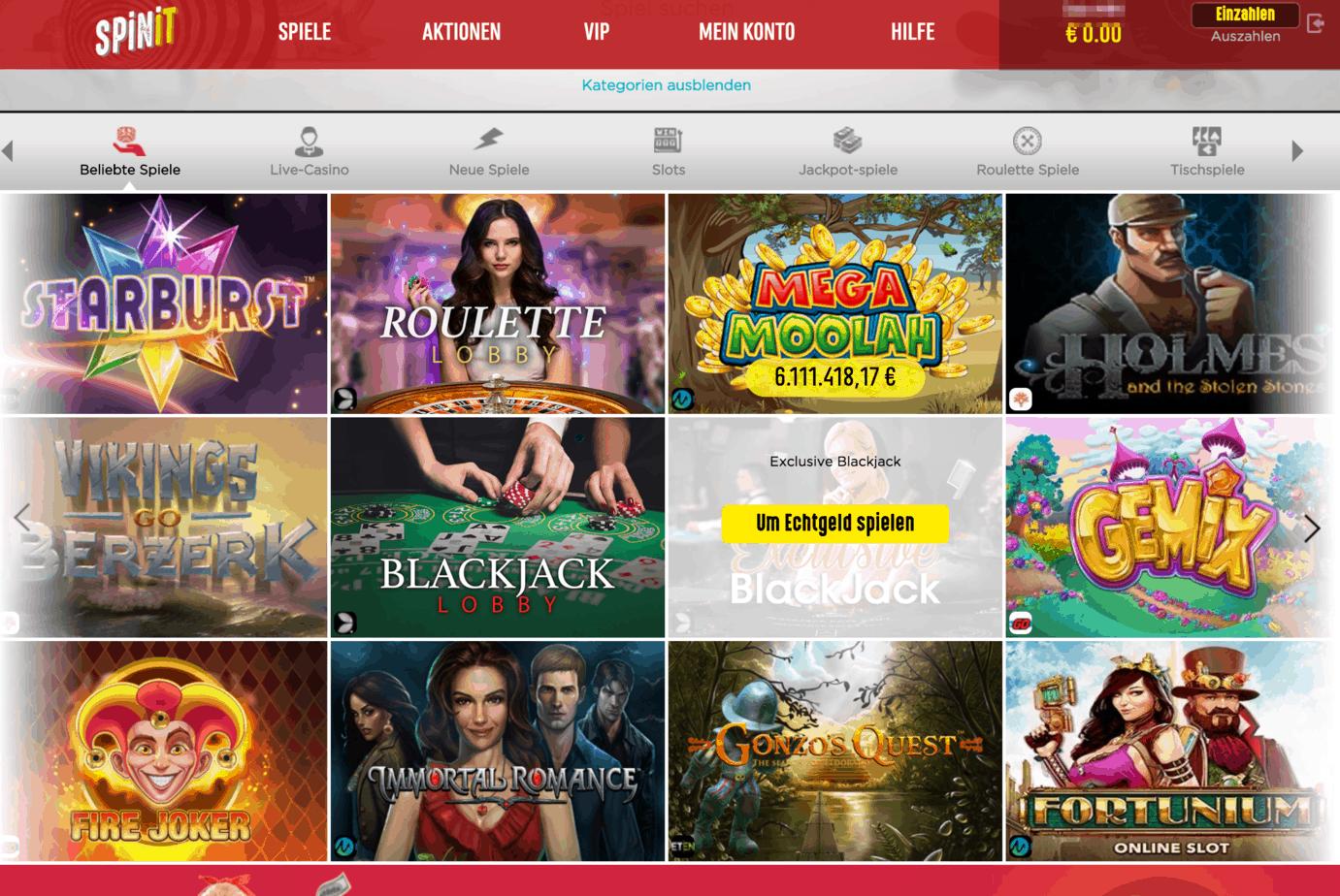 Spinit Casino Game Lobby Screenshot