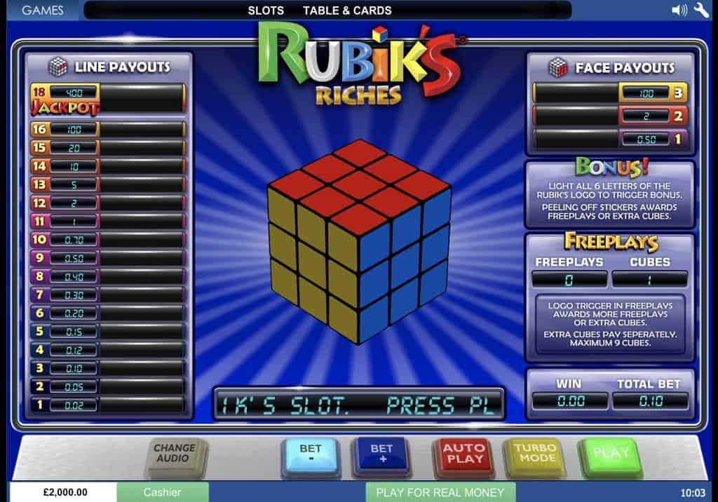 Rubiks Riches Slot Screenshot