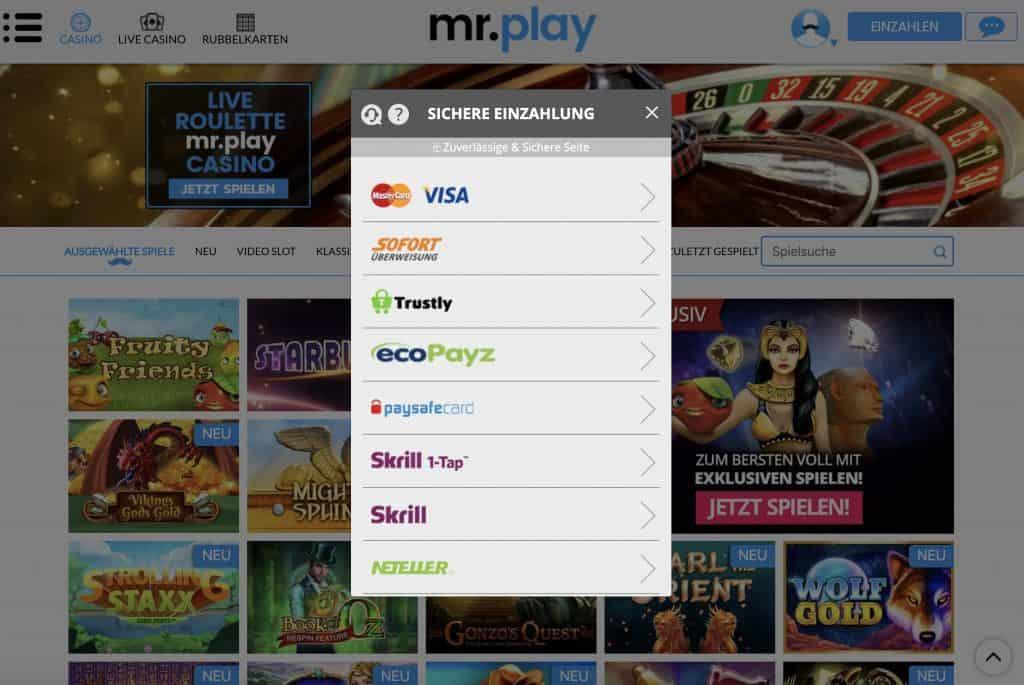 Mr Play Einzahlungsmöglichkeiten Screenshot